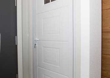 white front entrance door