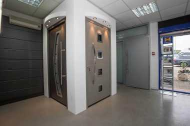 modern front doors in showroom