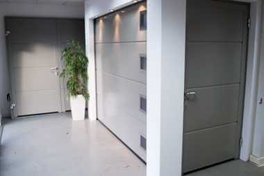 sectional garage door in showroom