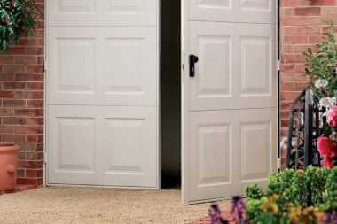 metal side hinged garage door