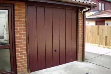 dark red up and over garage door